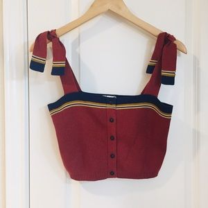 NEW Free People Knit Button Tie Shoulder Crop Top